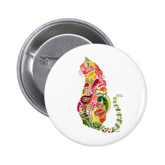 Paisley Cat Round Pin