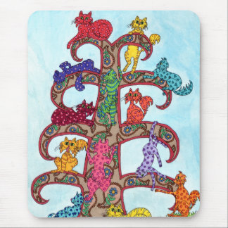 Paisley Cat Tree of Life Mouse Pad