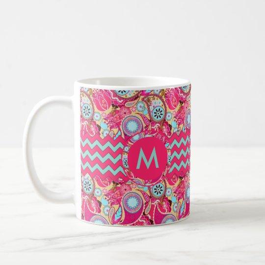 Paisley Chevron Monogram Pink PCMX Coffee Mug
