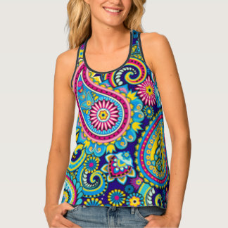 Paisley Colorful Pattern Print Design Tank Top