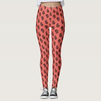 Paisley coral black elegant yoga pants
