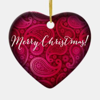 Paisley Deluxe Merry Christmas Heart | fuschia Ceramic Heart Decoration