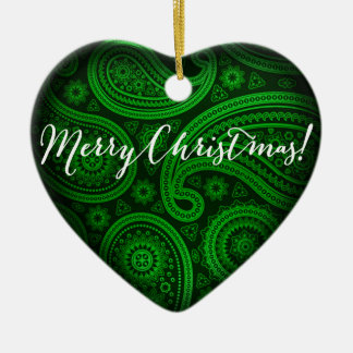 Paisley Deluxe Merry Christmas Heart | green Ceramic Heart Decoration