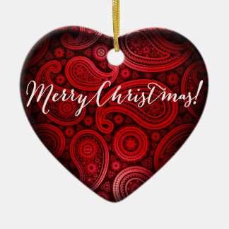 Paisley Deluxe Merry Christmas Heart | red Ceramic Heart Decoration