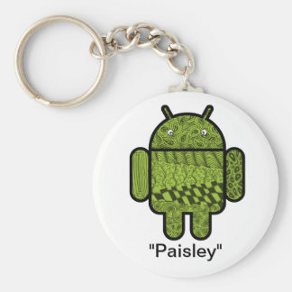Paisley Doodle Character for the Android™ robot Basic Round Button Key Ring