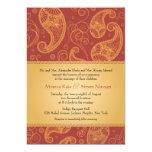 Paisley Dreams Gold Orange Wedding 5x7 Paper Invitation Card