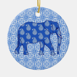 Paisley elephant - cobalt blue and white round ceramic decoration