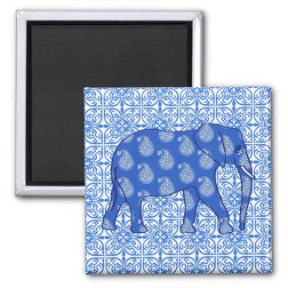 Paisley elephant - cobalt blue and white magnet