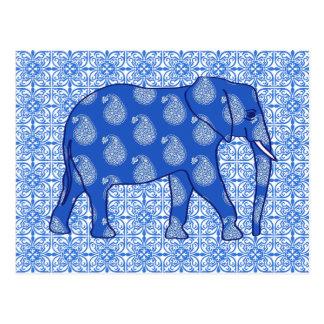 Paisley elephant - cobalt blue and white postcard