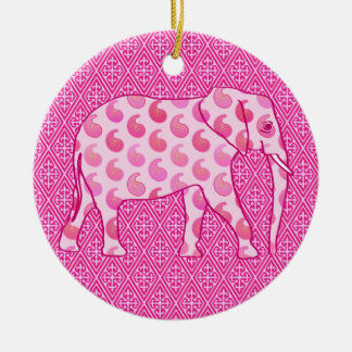 Paisley elephant - ice pink and fuchsia round ceramic decoration