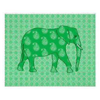 Paisley elephant - jade green and white poster