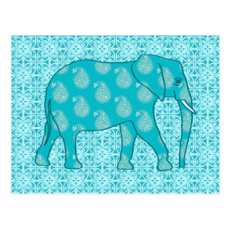 Paisley elephant - turquoise and aqua postcard