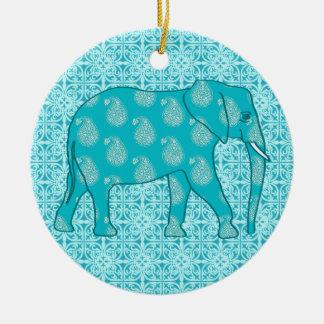 Paisley elephant - turquoise and aqua round ceramic decoration