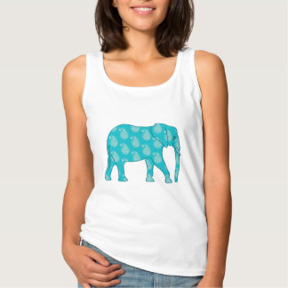 Paisley elephant - turquoise and aqua tank top
