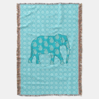 Paisley elephant - turquoise and aqua throw blanket