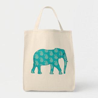 Paisley Elephant, Turquoise and Aqua Tote Bag