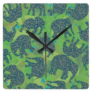 Paisley Elephants, Jungle Green Leaves Wall Clock