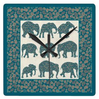 Paisley Elephants on Beige and Border Wall Clock