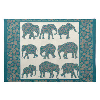 Paisley Elephants on Beige, Border Cloth Placemat