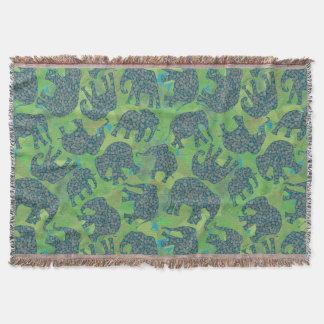 Paisley Elephants on Green Leaves Throw Blanket
