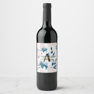 Paisley Elephants Pastel Blue Pink Monogram Custom Wine Label