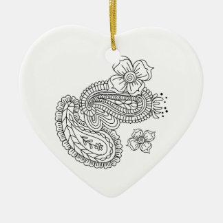 Paisley Floral Ceramic Heart Decoration