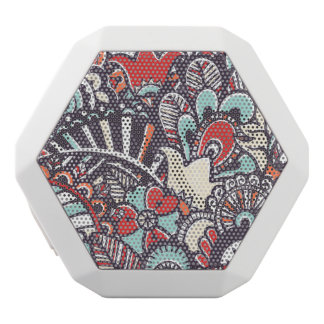 Paisley Floral Doodle Pattern White Boombot Rex Bluetooth Speaker