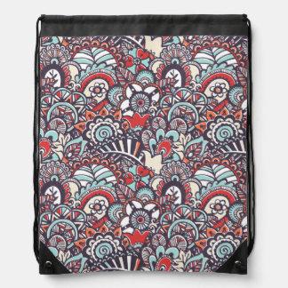 Paisley Floral Doodle Pattern Drawstring Bag
