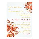 Paisley Floral Gold Red Orange Indian Wedding