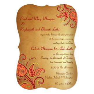 Paisley Floral Gold Red Orange Indian Wedding 13 Cm X 18 Cm Invitation Card