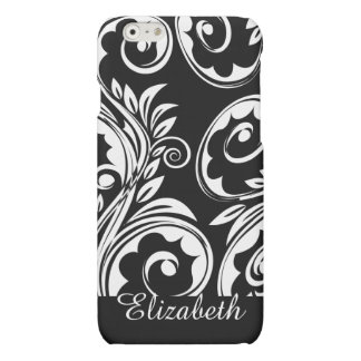 Paisley floral pattern swirl black white iPhone 6 plus case