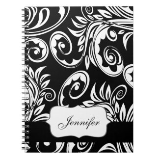 Paisley floral pattern swirl black white notebook