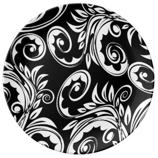 Paisley floral pattern swirl black white porcelain plates