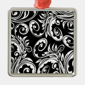 Paisley floral pattern swirl black white Silver-Colored square decoration