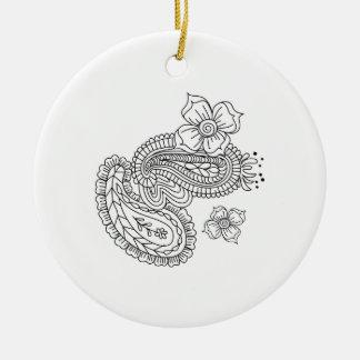Paisley Floral Round Ceramic Decoration
