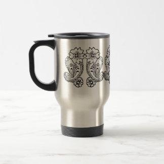 Paisley Flower Black Mugs