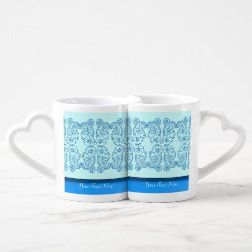 Paisley Flower (Blue) Lovers Mug Set