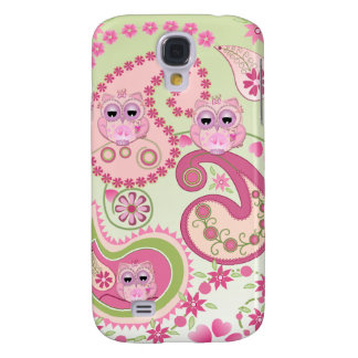 Paisley flowers & Owls design Galaxy S4 Case