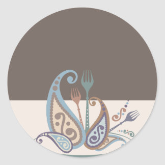 paisley forks from my kitchen cooking gift sticker