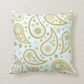 Paisley Funky Large Pattern in Light Blue & Golds Cushion