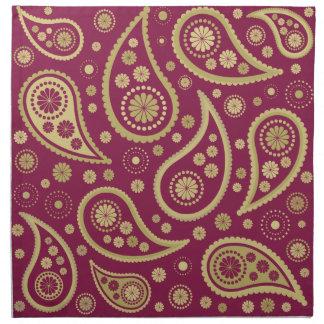 Paisley Funky Large Pattern Print Burgundy & Golds Napkin