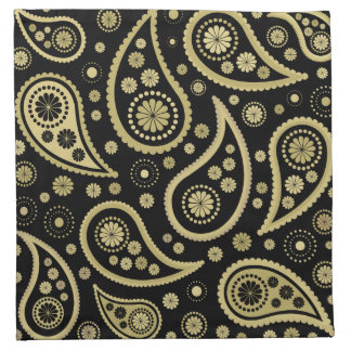 Paisley Funky Large Pattern Print in Black & Golds Napkin