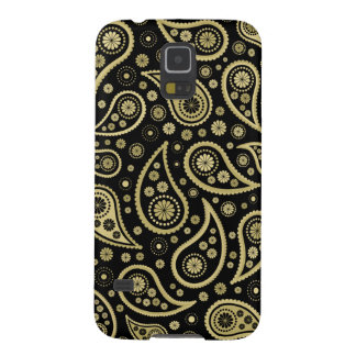 Paisley Funky Print in Black & Golds Cases For Galaxy S5