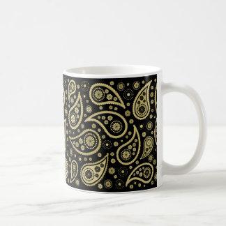 Paisley Funky Print in Black & Golds Coffee Mug