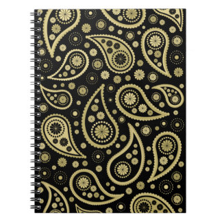 Paisley Funky Print in Black & Golds Spiral Notebook