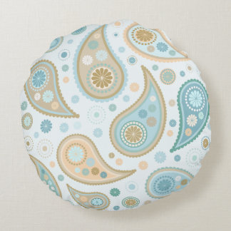 Paisley Funky Print in Blues & Caramels Round Cushion