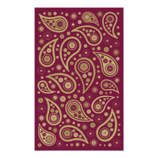 Paisley Funky Print in Burgundy & Golds