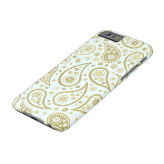 Paisley Funky Print in Light Blue & Golds Barely There iPhone 6 Case