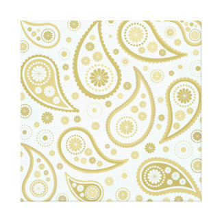 Paisley Funky Print in Light Blue & Golds Stretched Canvas Prints