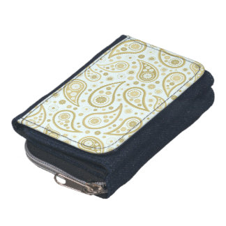 Paisley Funky Print in Light Blue & Golds Wallet